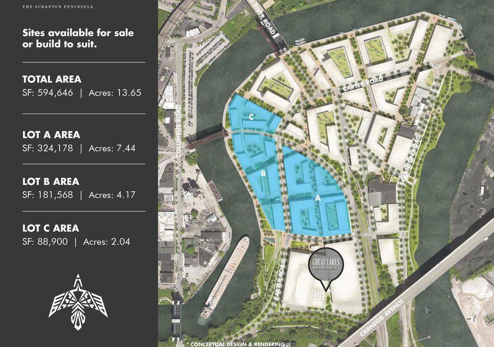 """Aspirational"" Scranton Peninsula plans show mixed-use neighborhood on Cuyahoga River"